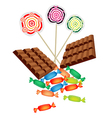 Chocolates Lollipops and Hard Candies vector image