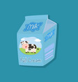 full cream cow milk packaging on blue background vector image