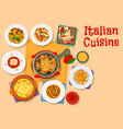 Italian cuisine icon with pasta soup and cake vector image