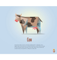 polygonal of black and white cow with milk vector image