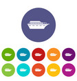 powerboat set icons vector image