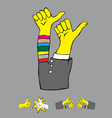 Thumbs up set vector image