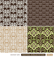 Vintage ornamental backgrounds set - brown green vector image