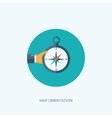 Compass icon with hand Travel concept Navigation vector image