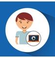 teen cartoon with laptop design vector image