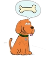 Cartoon dog dreaming about bone vector image vector image