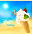Soft strawberry ice-cream on beach background vector image