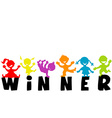with word WINNER and happy children silhouettes vector image