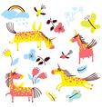 cartoon unicorns set vector image vector image