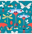 Seamless graphic pattern with different insects vector image