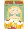 beer retro card - blond girl with beer vector image