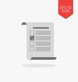 Checklist vote survey icon Flat design gray color vector image