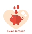 Concept Flat Medical Icons of Piggy Bank as Blood vector image