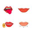 lips icon set cartoon style vector image
