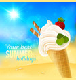 Soft strawberry ice-cream on beach background vector image