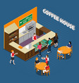 coffee house isometric composition vector image
