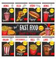 fast food menu price cards templates set vector image