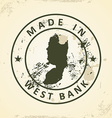 Stamp with map of West Bank vector image