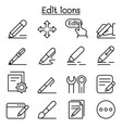 edit icon set in thin line style vector image