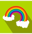 Rainbow with clouds flat icon vector image