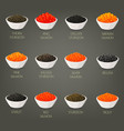 set of isolated seafood fish food caviare vector image