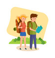 tourists are engaged in walking together vector image