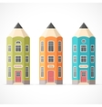 Set of colorful pencil houses vector image