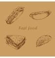 Fast food hand drawn set brown vector image