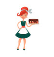 funny cartoon housewife with cake happy vector image