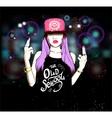 Rap musik girl vector image