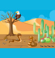 snakes and eagle in the desert vector image