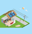 isometric electric power from solar panels vector image