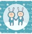 Cute babys in rabbit costume vector image