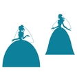 Young bride silhouette in wedding dress vector image