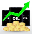 Oil Barrels And Stack Of Gold Coin Price Up vector image