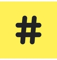black hashtag icon isolated on yellow background vector image