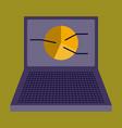 flat icon on stylish background laptop chart vector image