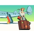 Pretty girl the tourist arrived vector image