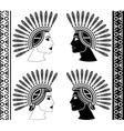 set of mayan woman profiles vector image
