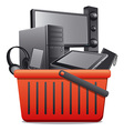 basket with computer devices vector image vector image