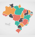 brazil map with modern round shapes vector image
