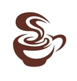Hot cup of coffee with swirling steam vector image vector image