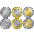 Set Polish Money one two and five zloty coins vector image vector image