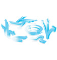 set of 3d blue arrows vector image vector image