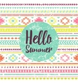 Hello summer lettering with ethnic pattern vector image
