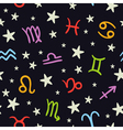 Doodle seamless pattern with bright zodiac signs vector image