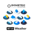 Isometric flat icons set 23 vector image