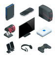isometric video game console icon set simple set vector image