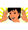 Joyful face of young woman with her hands near vector image