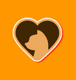 paper sticker on stylish background cat heart vector image